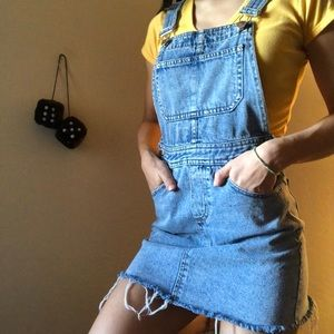 denim overall dress : )